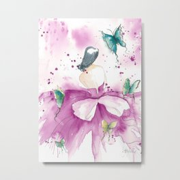 Ballerina with Butterflies Metal Print