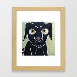 Sweet Black Dog Framed Art Print