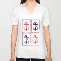 anchors V-neck T-shirts featuring Abundant Anchors by Isobel Woodcock Illustration
