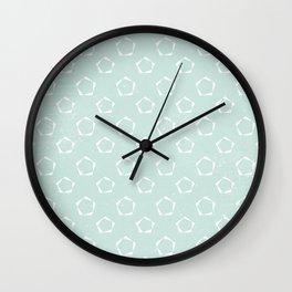 Geometric Mint Green Stencil Pattern Wall Clock