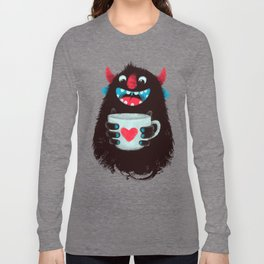 Demon with a cup of coffee (contrast) Long Sleeve T-shirt