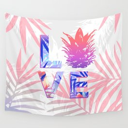 Love Pineapple Typography Tropical Boho Summer Vibes Wall Tapestry
