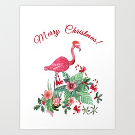 Flamingo Christmas card Art Print
