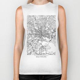 Baltimore Map White Biker Tank