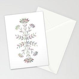 Folkart Leaves and Flowers Design / Batik Tie Dye / green, purple Stationery Cards
