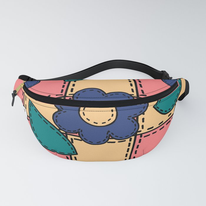 Retro Doodle Flower Style Quilt - Coral Yellow Dark Blue Fanny Pack