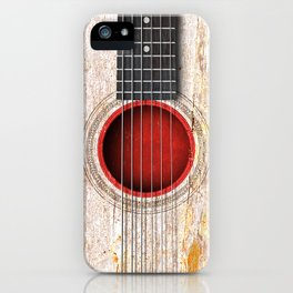 Old Vintage Acoustic Guitar with Japanese Flag iPhone Case