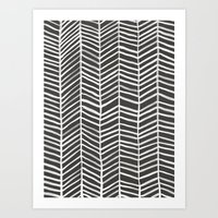 herringbone Art Prints featuring Herringbone – Black & White by Cat Coquillette