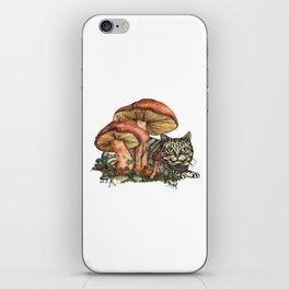 Mushroom and Cat iPhone Skin