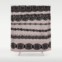 Black and white lace print Shower Curtain