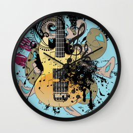 Grunge modern guitar Wall Clock