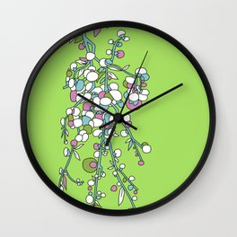 1950s / 1960s Retro Floral Flower Stem Pattern Wall Clock