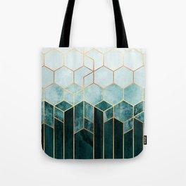 Teal Hexagons Tote Bag