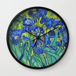 Vincent Van Gogh Irises Painting Detail Wall Clock