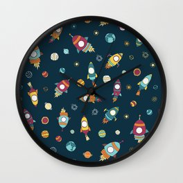 Rocket ships in space Wall Clock