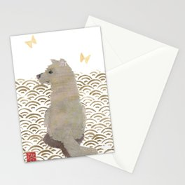 DOG, SEIGAIHA PATTERN Stationery Cards