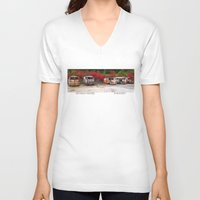 volkswagon V-neck T-shirts featuring Retired Hippies by BWooley Photo