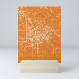 Santa Rosa, CA, USA, Gold, Blue, City, Map Mini Art Print