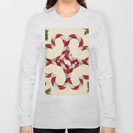 CREAMY YELLOW  RED-WHITE PINK  CHRISTMAS CANDY CANES Long Sleeve T-shirt
