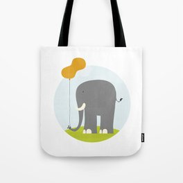 An Elephant With a Peanut Balloon Tote Bag