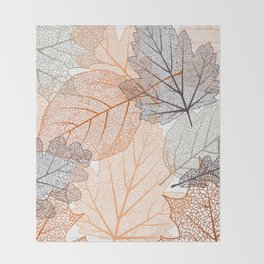 Leaves Print, Nature Art, Abstract Throw Blanket