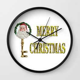 Merry Christmas Santa Key Decoration Wall Clock