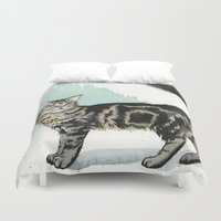 maine Duvet Covers featuring Maine Coon by Priscilla George