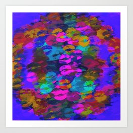 sexy kiss lipstick abstract pattern in pink blue orange red Art Print