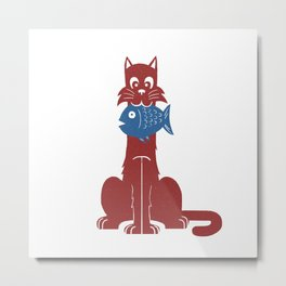 Cat with Fish Metal Print
