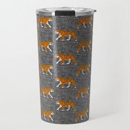 walking tigers - charcoal Travel Mug