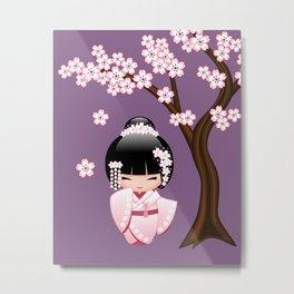 Japanese Bride Kokeshi Doll on Purple Metal Print