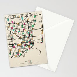 Colorful City Maps: Miami, Florida Stationery Cards
