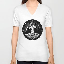 black and white tree of life with moon phases and celtic trinity knot Unisex V-Neck