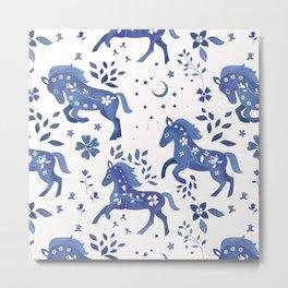 Delft Blue Horses Metal Print