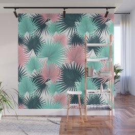 Pastel Palm Leaves Wall Mural