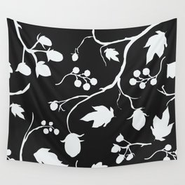 Floral Seamless Pattern. Hand Drawn Creative Sprays with berries Wall Tapestry