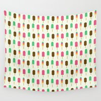 ice cream Wall Tapestries featuring ice cream by husavendaczek