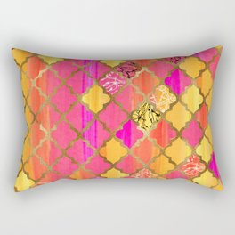 Moroccan Tile Pattern In Pink, Red, Orange, And Gold Rectangular Pillow