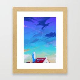 Cloudy Sky With Buffalo Framed Art Print