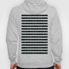 Black and White Stripes And Cyan Blue Squares Pattern Hoody