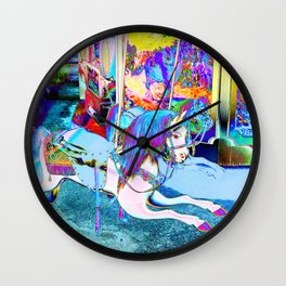 Neon Flying Horse Carousel Wall Clock