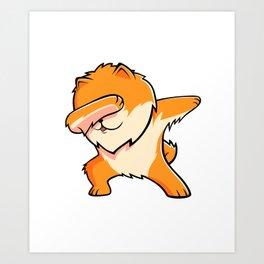 Funny Dabbing Pomeranian Dog Dab Dance Art Print