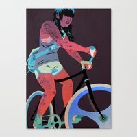 tattoos Canvas Prints featuring Bicycles & Tattoos (4) by Matt Taylor