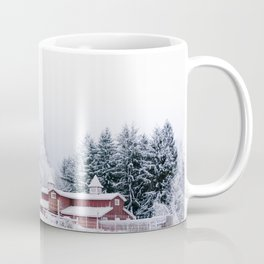 Winter Red Barn and Pine Trees in Minnesota Coffee Mug