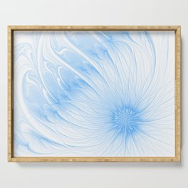 Blue White Flower | Abstract digital painting, cute floral pattern, pretty pastel flowers Serving Tray