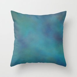 Abstract Soft Watercolor Gradient Ombre Blend 14 Teal, Purple, and Black Throw Pillow