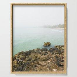 Bay of Pigs Playa Larga Cuba Caribbean Sea Ocean Beach Geology Limestone Tropical Island Fog Mist Ne Serving Tray