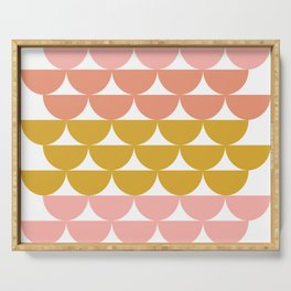 Pretty Geometric Bowls Pattern in Coral and Mustard Serving Tray