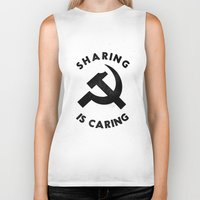 marx Biker Tanks featuring Sharing Is Caring by Landon Sheely