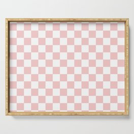 Gingham Pink Blush Rose Quartz Checked Pattern Serving Tray